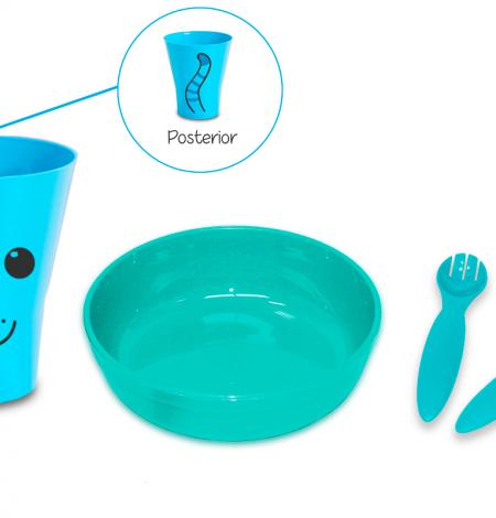 kit con plato azul